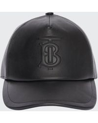 Burberry Men's Debossed Tb Leather Trucker Cap - Black