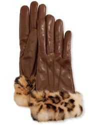 Mario Portolano Cashmere-lined Leather Gloves W/ Mink Fur Cuffs - Brown