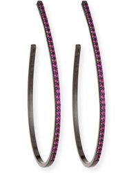 Lana Jewelry - Electric Pink Sapphire Teardrop Hoop Earrings In 14k Black Gold - Lyst