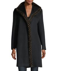 Fleurette - Magnetic Wool Coat W/ Spiral Mink Fur - Lyst