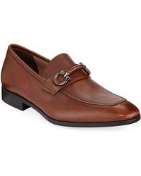 Ferragamo - Men's Benford Textured Leather Slip-on Bit Loafers - Lyst