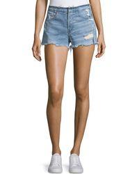 3x1 - Shelter High-rise Stripped Denim Shorts - Lyst