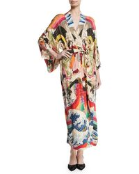 Chufy Trippin Long-sleeve Belted Long Kimono - Multicolor