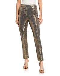 Badgley Mischka Sequin Straight-leg Pants - Metallic