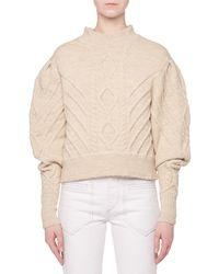 Isabel Marant - Turtleneck Irish-knit Volume-sleeve Wool Sweater - Lyst