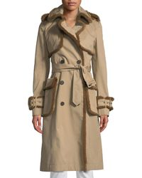 J. Mendel - Mink-trimmed Double-breasted Trench Coat - Lyst