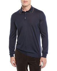 Ermenegildo Zegna - Men's Wool-blend Long-sleeve Polo Shirt - Lyst