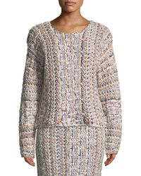 Adam Lippes - Crewneck Long-sleeve Hand-knit Tweed Sweater - Lyst