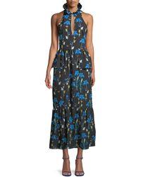 Borgo De Nor Sleeveless Halter Keyhole Butterfly & Iris Print Maxi Dress - Blue