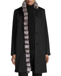 Fleurette - Wool Coat W/ Rabbit Fur Trim - Lyst