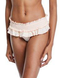 Tory Burch Gingham Skirted Smocked Bikini Swim Bottoms - White