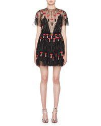 Valentino | Short-sleeve Lipstick Tulle Cocktail Dress | Lyst