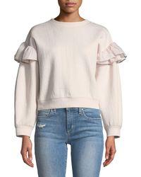 Rebecca Taylor | Ruffle Crewneck Sweatshirt | Lyst