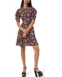 Michael Kors - Draped Puff-sleeve A-line Dress - Lyst