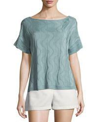 M Missoni - Solid Knit Short-sleeve Top - Lyst