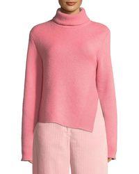 Cedric Charlier - Turtleneck Long-sleeve Wool-cashmere Sweater W/ Side Slit - Lyst