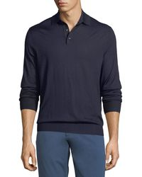 Ermenegildo Zegna - Cashmere-blend Polo Long-sleeve Shirt - Lyst