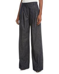 Brunello Cucinelli - Wide-leg Denim Pants With Monili Trim - Lyst