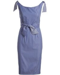 MILLY - Candice Striped Shirting Tie Dress - Lyst