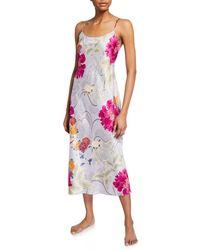 Natori Auburn Floral Satin Slip Nightgown - Multicolour
