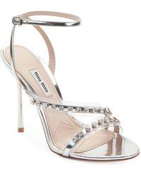3dd79c454 Miu Miu Jeweled Satin Heeled Sandals in Natural - Lyst