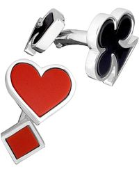 Jan Leslie Men's Card Suit Cufflinks With Agate & Onyx - Red