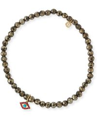 Sydney Evan - Champagne Pyrite Beaded Bracelet With Ruby & Turquoise Evil Eye Charm - Lyst