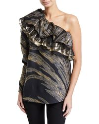 Dundas - One-sleeve Ruffled Fil Coupe Blouse - Lyst