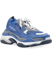 Balenciaga - Blue And Grey Triple S Sneakers - Lyst