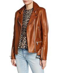 Nour Hammour Lace-up Leather Biker Jacket - Brown