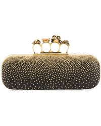 Alexander McQueen Knuckle Studded Leather Box Clutch Bag - Black