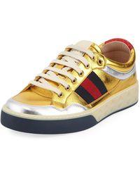 Gucci - Metallic Leather Sneaker - Lyst