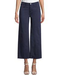 L'Agence - Danica Wide-leg Cropped Raw-edge Pants - Lyst
