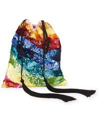 Attico - Sequined Rainbow Drawstring Pouch Bag - Lyst
