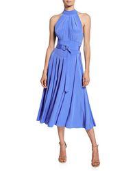 Diane von Furstenberg Nicola Silk Midi Halter Dress - Blue