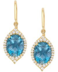 Jamie Wolf - 18k Small Oval Aladdin Pave Earrings W/ Blue Topaz & Diamonds - Lyst
