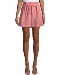 Rebecca Taylor - Slub Cotton-linen High-waisted Shorts - Lyst