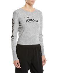 Cinq À Sept - Women's Kian L'amour Embellished Wool-blend Knit Sweater - Medium Heather Grey - Lyst