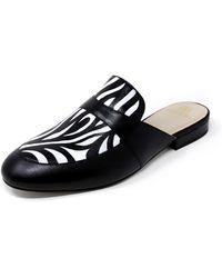 Alepel - Hand-painted Zebra Flat Slide Mules - Lyst