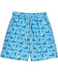Peter Millar Boy's Gulf Stream Sailboats & Swordfish Print Swim Trunks - Blue