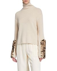 Sally Lapointe Leopard-print Fur Print Wool-cashmere Jumper - Natural