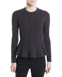 Jason Wu - Crewneck Long-sleeve Peplum Cable-knit Merino Wool Sweater - Lyst