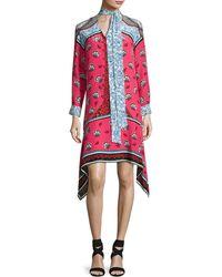 Mary Katrantzou | Long-sleeve Mixed-print Scarf-tie Dress | Lyst