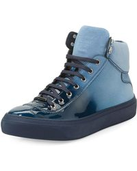 Jimmy Choo | Argyle Men's Lacquered Suede Dégradé High-top Sneaker | Lyst