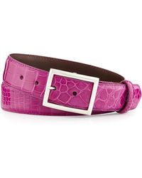 "W. Kleinberg | Glazed Alligator Belt With ""simple Rec"" Buckle 