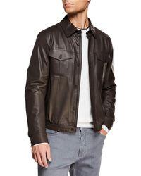 5f6271faf9 Men's Ultra Light Leather Shirt Jacket - Brown