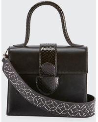 Alaïa Leonie Small Snakeskin Top Handle Bag - Black