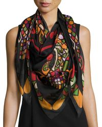 Givenchy Egyptian Wings Square Silk Chiffon Shawl - Multicolour