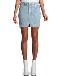 Vetements - Two-tone Straight Denim Mini Skirt W/ Released Hem - Lyst