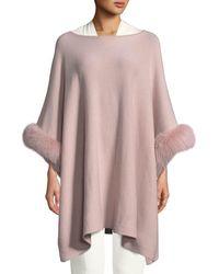 Sofia Cashmere Cashmere Poncho W/ Fur Cuffs - Multicolor